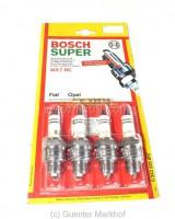 Satz (4 Stück) Zündkerzen Bosch WR 7 BC, Kurzgewinde für Rundkopfmotoren. Lagerrestbestände (NOS)