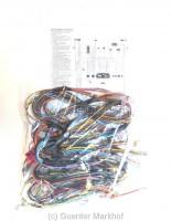 Kabelbaum für Ausführung ohne Warnblinkanlage, Fiat 500 L, beschriftet und mit Schaltplan.