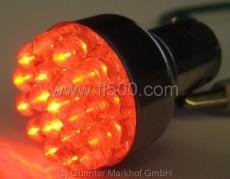 LED Doppelfadenleuchte rot, 12V mit 19 LED's und Bajonettfuß, passend in den Sockel, der.u.a. beim Brems-Rücklicht hinten verwendet wird. 2-stufig. 1. wie Fahrlicht, 2. wie Bremslichte. Nicht zulässig bei der Verwendung aussen am Fahrzeug.