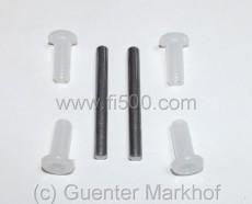 Satz Türscharnierbolzen (2 Stück) incl. Kunststoffbüchsen (4 Stück) für eine Tür