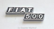 Emblem / Schriftzug *Fiat 500* aus Metall für Motorhaube