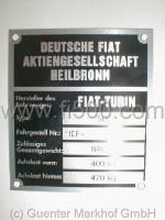 Achslastenschild (Typenschild) für Stoßdämpferdom Fiat 500 (Limousine), Fahrg.-Nr. 110F -, Gesamtgewicht 840 Kg