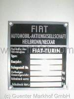 Achslastenschild (Typenschild) für Stoßdämpferdom Fiat Blanko