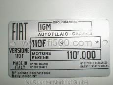 Typenschild 110 F mit Motor 110F.000 mit Farbnummer