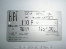 Typenschild 110 F mit Motor 126 A5 mit Farbnummer