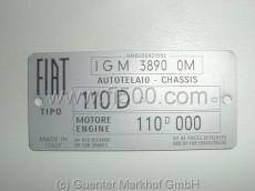 Typenschild aus Aluminium für Fiat 500 D, Fahrgestell-Nr. 110 D, Motornr. 110 D (IGM 3890 OM)