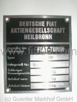 Achslastenschild (Typenschild) für Stoßdämpferdom Fiat 500 (Kombi), Fahrg.-Nr. 120 -, Gesamtbewicht 875 Kg