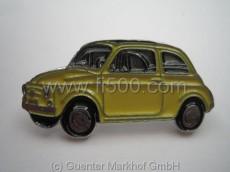 Anstecker Fiat 500 Limousine, gelb