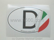 Aufkleber D-Schild mit kleiner Ecke italienischer Flaggen-Farben