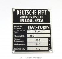 Achslastenschild (Typenschild) für Stoßdämpferdom Fiat 500 D, Fahrg.-Nr. 110D -, Gesamtgewicht 820 Kg