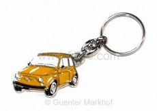 keychain yellow Fiat 500, metal