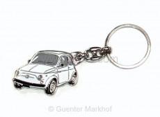keychain white Fiat 500, metal