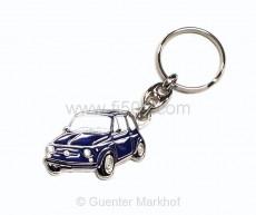 Schlüsselanhänger Metall Fiat 500 blau