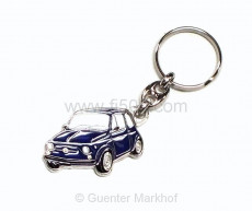 keychain blue Fiat 500, metal