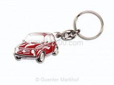 Schlüsselanhänger Metall Fiat 500 rot