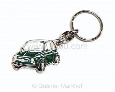 Schlüsselanhänger Metall Fiat 500 grün
