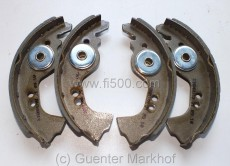 Kit Break shoes 4 pcs., Fiat 850 N (front & rear), 850 Coupe (rear), up to 04/1967